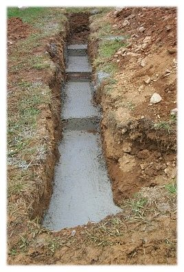 A Picture of Excavated Stepped Concrete Footings ... |Lot Slope Retaining Wall Footing Design